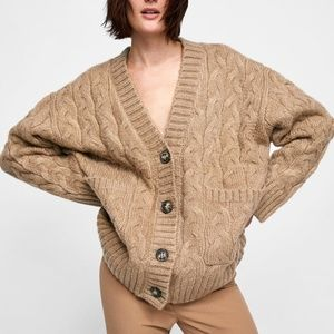 Zara Knit Ivory Woven Oversized Cardigan Small